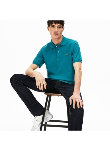 Lacoste Erkek Klasik Fit Tişört L1212.YZW Mavi